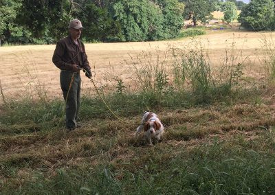 Dave Bale holding a brown-white dog with a strap on a large field